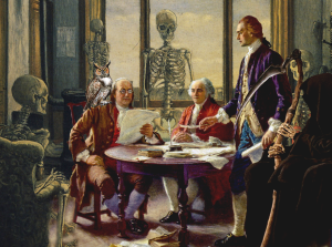 The founding fathers brainstorm about capitol punishment.