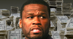 50 Cent's face in front of huge stacks of cash