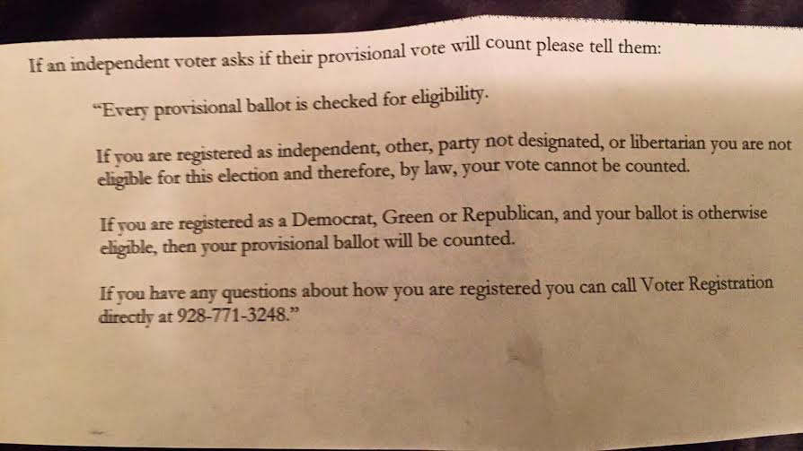 script for polling locations during Arizona Democratic primaries