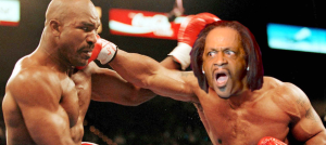 Katt Williams delivers a powerful blow while boxing