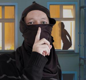 masturbating ninja puts finger to lips while spying outside window