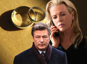 alec baldwin and kim basinger look solemn with wedding rings in the background