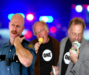 Ben and Jerry eat their ice cream while getting arrested