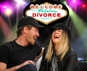 Drew Barrymore and husband Will Kopelman laugh together, under disco lights and a neon sign for a divorce party