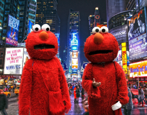 two elmos stand in times square