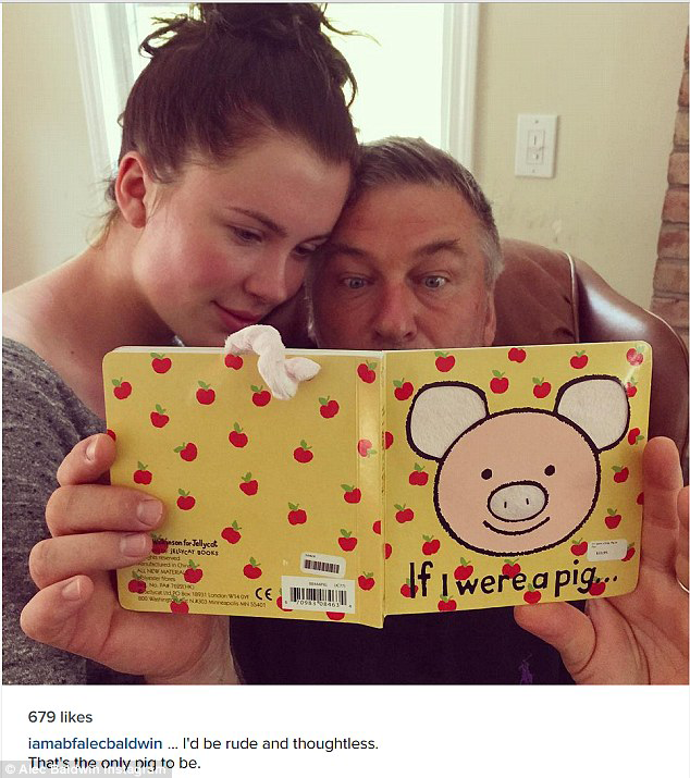"alec baldwin and ireland baldwin read a book called ""if i were a pig"""
