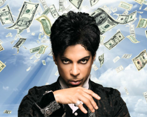 Prince poses as money rains down from the heavens