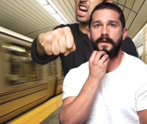shia labeouf punched from behind in subway station