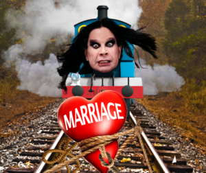 train with ozzy osbourne's face races towards a heart tied to train tracks