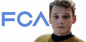 Anton Yelchin in Star Trek uniform by Fiat Chrysler logo