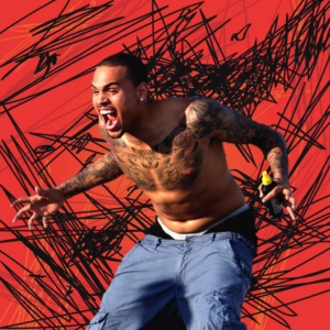 chris brown freaks out over a crazy red scratchy design