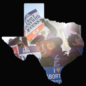 state of texas outline with abortion activists inside