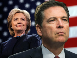 Hillary Clinton and James Comey stand before an american flag