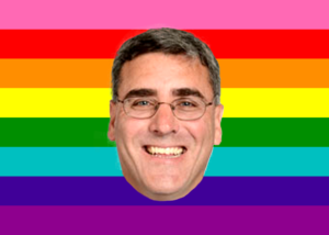 judge gregory mcmillan's face over the gay pride colors