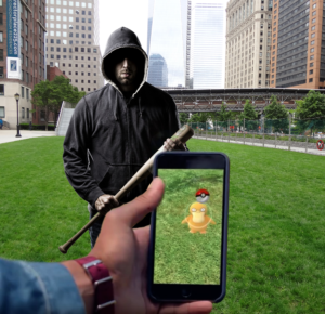 playing pokemon go in front of a mugger