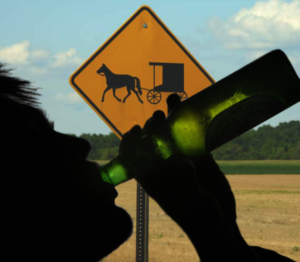 a teen drinks beer in front of an amish buggy road sign