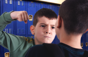 a kid getting punched in front of lockers