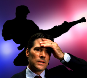 criminal minds actor Thomas Gibson face-palms in front of police lights and a kicking man's silhouette