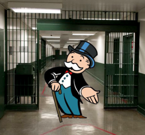 the monopoly man invites you into a prison hallway