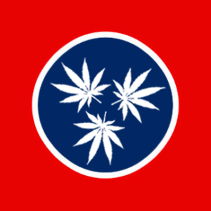 Tennessee state flag with pot leaves instead of stars