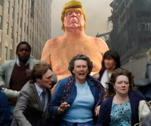 terrorized citizens run away from nude Trump statue