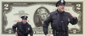 two police officers run before a two-dollar bill background