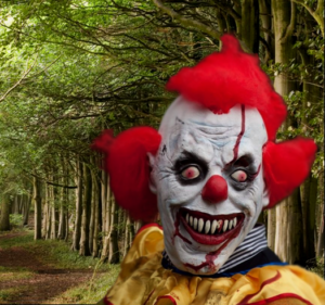 a clown in the woods