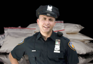 a snarky cop stands in front of a bunch of coke baggies