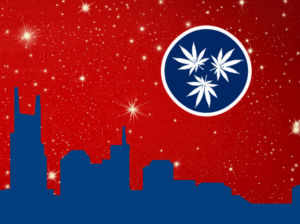 nashville skyline with red sky and TN flag with pot leaves instead of stars