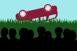 an suv flipped over in grass is looked upon by silhouettes of people