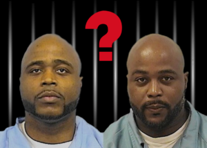 identical twins stand before prison bars with a question mark between their heads