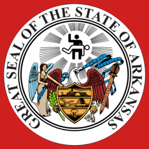 the seal of arkansas, edited so that one person is spanking another in it