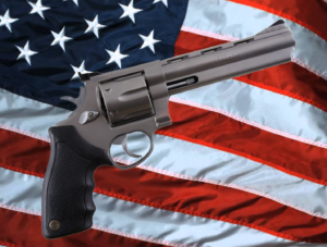 a revolver in front of the United States fall