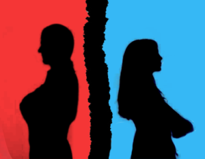 silhouette of divorcing couple over ripped paper